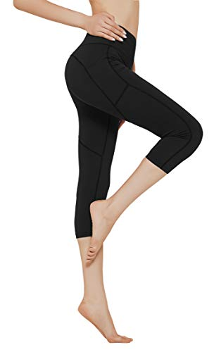 N-A Workout High Waist Yoga Pants with Pockets Tummy Control Side Pocketed Running Capris Leggings for Women S Black