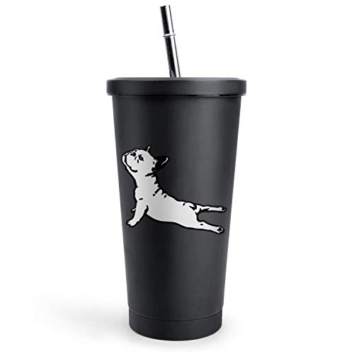 French Bulldog Yoga French Bulldog Art Tumbler with Straw with Lid and Reusable Silicone Straw,Double Wall Insulated Travel Cup Safe Adults Travel Mug