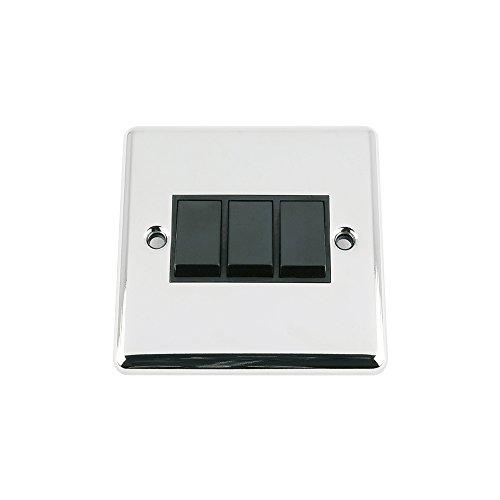 Aet SWI3GCCBL - A5 luz del interruptor de 3 cuadrillas - cromo pulido - clásico - interruptor de inserción de plástico negro - 10 amplificador de triple banda 3 2 vías