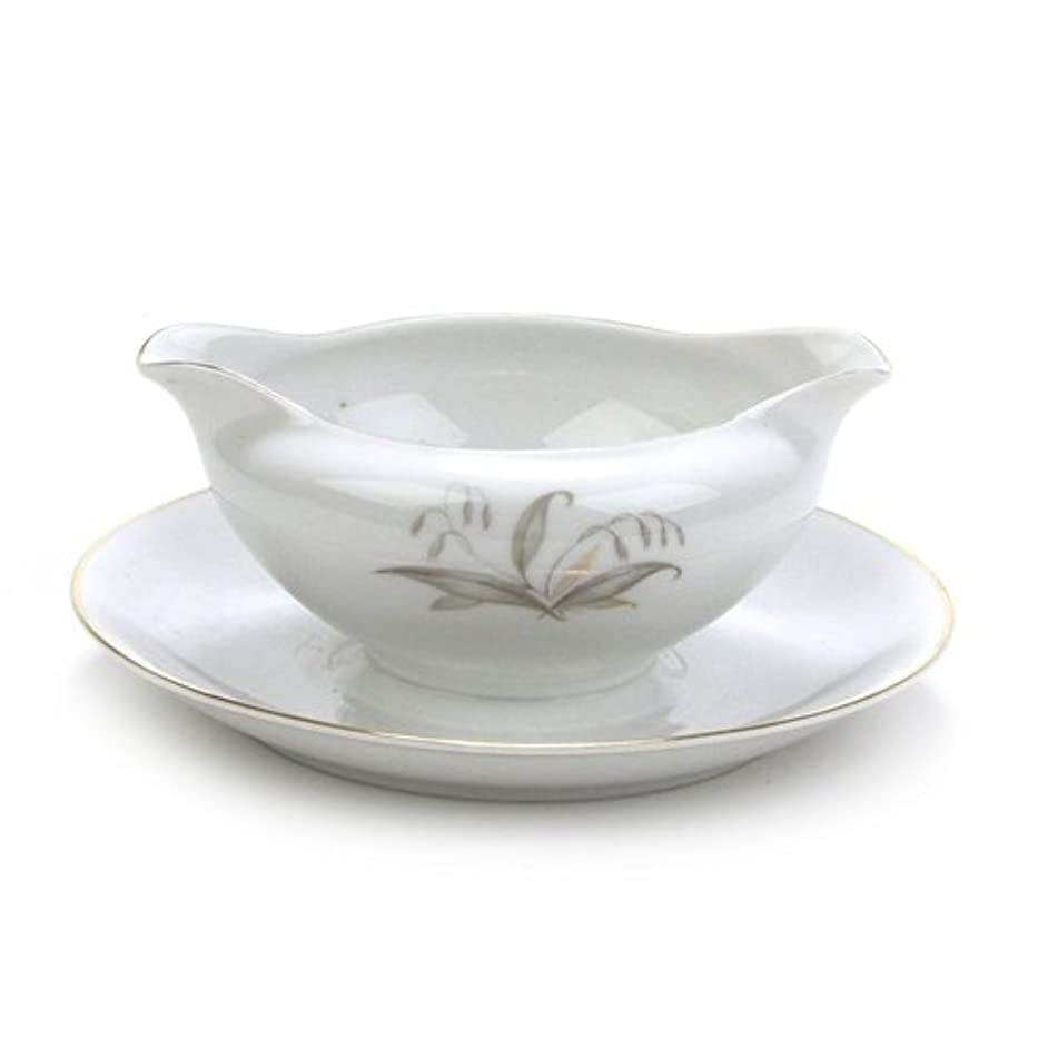 Golden Rhapsody by Kaysons, China Gravy Boat, Attached Tray