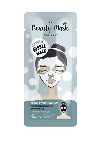 The Beauty Mask Company Oxygen Bubble Mask, 1 Sachet Cleansing Cloth Mask with Activated Carbon, Skin Care Product for All Skin Types, Vegan Deep Cleansing, 25 g