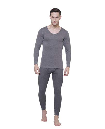 Jockey Men's Cotton Thermal Set (Charcoal, Medium)