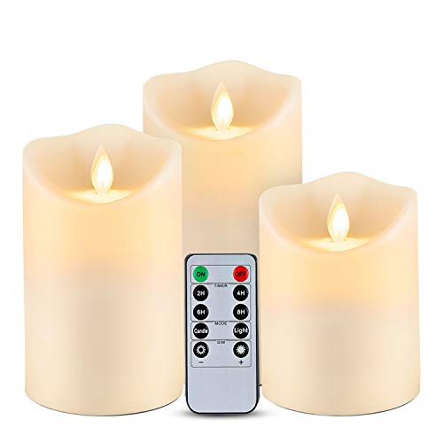 """Homemory Waterproof Flickering Flameless Candles, Outdoor Indoor Battery Operated LED Candles with Remote Timers, No melt, Moving Flame, Ivory Frosted Plastic, D3.25""""x H4""""5""""6"""", Set of 3"""