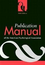 Publication manual of the American Psychological Association 5th Fifth Edition