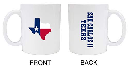 San Carlos II Texas Souvenir – Taza de cerámica (2 unidades), color blanco