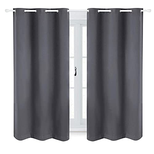 Bedsure Blackout Curtains 63 inch Length 2 Panel Sets - Grommet Curtains for Living Room - Thermal Insulated Curtains for Bedroom (42×63,Grey)
