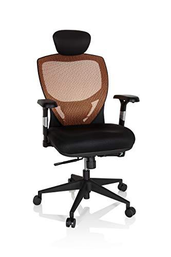 hjh OFFICE 657120 Profi Bürostuhl VENUS BASE Stoff/Netz Schwarz/Orange ergonomischer Drehstuhl, Rückenlehne verstellbar