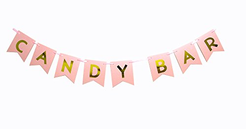 Hatcher lee Candy Bar Banner Bunting Flags for Wedding Engagement Outdoors Party Hanging Decor(Pink