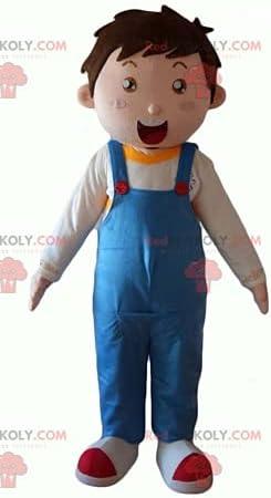 Little boy REDBROKOLY Mascot wearing blue overalls