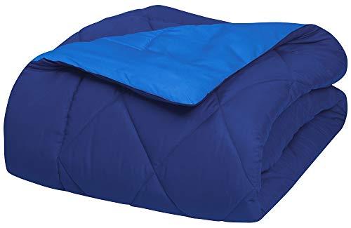 Elegant Comfort Goose Down Alternative-Diamond-Stitched-Quilted 2-Piece Reversible Comforter Set/Duvet Insert Ultra Soft Hypoallergenic Bedding-Medium Warmth for All Seasons, Twin XL, Navy Light Blue