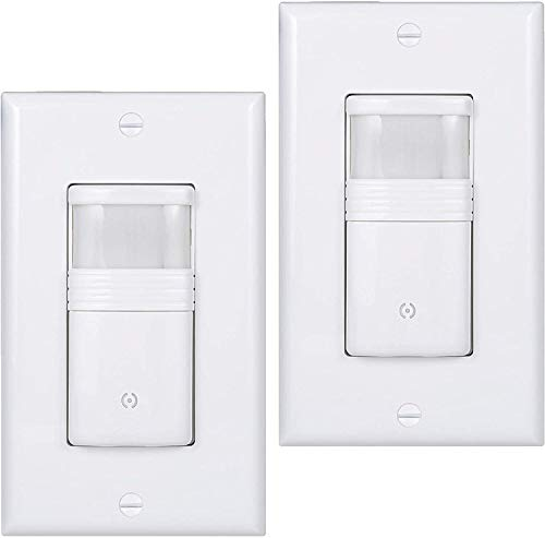 (Pack of 2) White Motion Sensor Light Switch – Neutral Wire Required – Single Pole Only (Not 3-Way) – for Indoor Use – Vacancy & Occupancy Modes – Title 24, UL Certified – Adjustable Timer