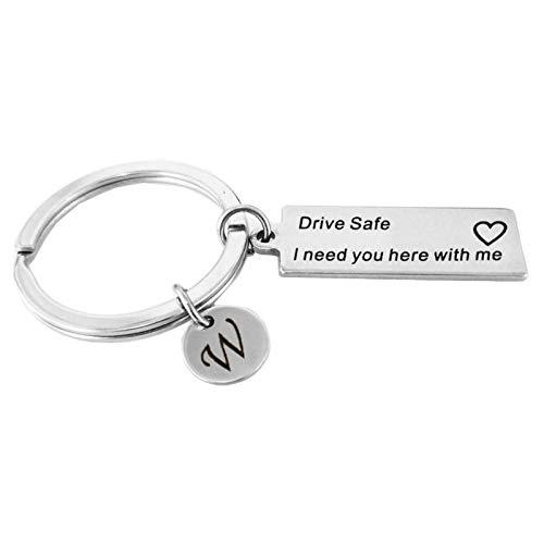 Amody Edelstahl warmes erinnern Schlüsselanhänger Silber Drive Safe mit Brief W für Männer Frauen Geschenke für Freunde Dad Ehemann