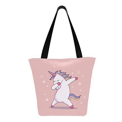 Simpatico unicorno tamponando 11 × 7 × 13 pollici lavabile in lavatrice robusta borsa in poliestere per le donne pieghevole riutilizzabile riutilizzabile borsa della spesa per lo shoppi
