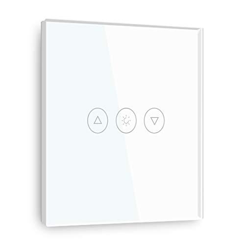 BSEED Interruptor Táctil de Atenuador WiFi Inteligente Alexa Interruptor de luz, Smart Life App Control de Panel de Vidrio Interruptores de Luz de pared 1 Gang 1 manera blanco, cable neutro requerido
