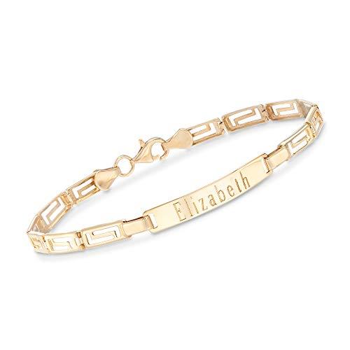 Ross-Simons Plain - 14kt Yellow Gold Greek Key Bar Bracelet. 7 inches