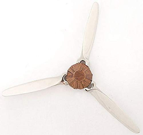 Casa Padrino Wanddeko Propeller Silber/Braun 60 x 9 x H. 56 cm - Flugzeug Deko Accessoires