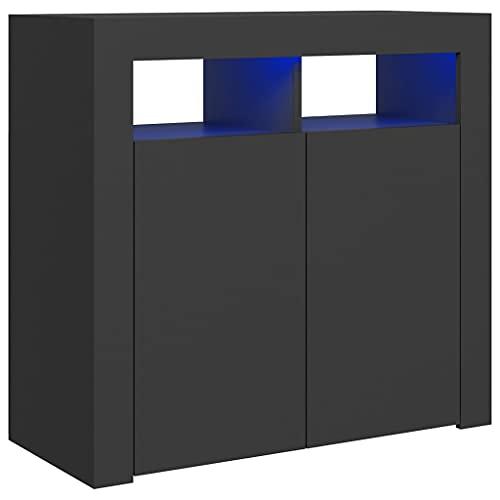 vidaXL Aparador con Luces LED Entrada Acento Pasillo Vestíbulo Recibidor Auxiliar Decoración Hogar Casa Escritorio Mueble Gris 80x35x75 cm