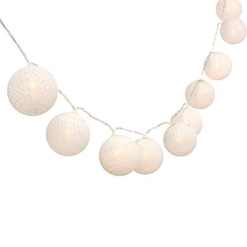 Gardeningwill 3M/10Ft 30 Warm White Cotton Ball LED Xmas Wedding Battery Operated String Fairy Light