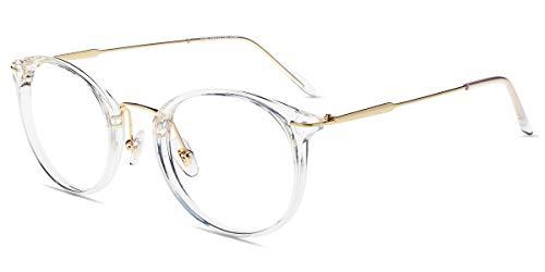 Firmoo Gafas Luz Azul para Ordenador Gaming UV Filtro Proteccion Ojos Antifatiga Gafas para Mujer Hombre,Gafas Montura Redondo Clásico, S185 Transparentes Dorado