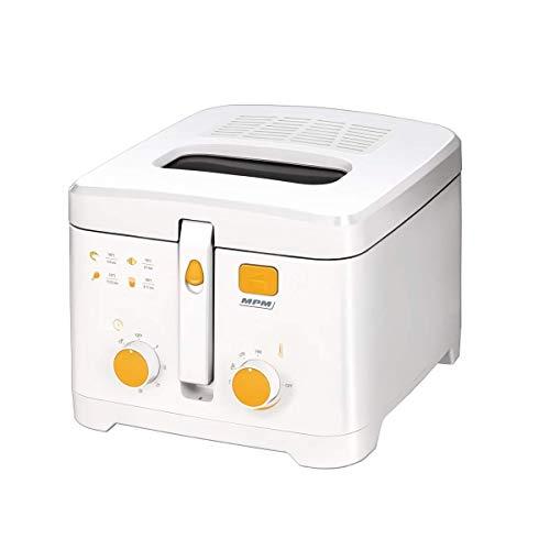 MPM MFR-08 Kompakte elektrische Friteuse 2,5 Liter, waschbare Antihaft-Schüssel, Zeitschaltuhr und Regler bis 190°C, 1800W, 1800, 2.5 liters, White