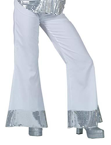 Generique - Pantalon Disco Blanc avec Sequins sur Le Bas Femme