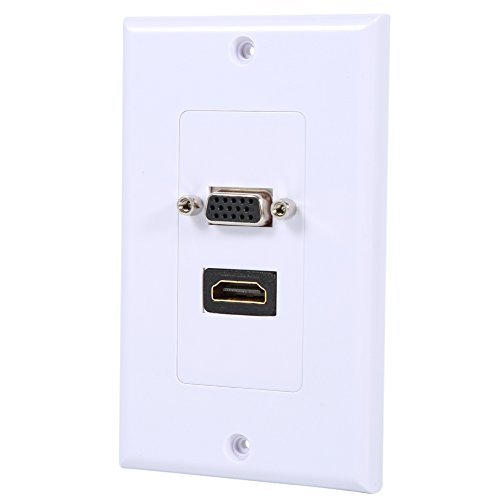 Jinyi White Hdmi Vga Wall Plate, Dual Port Hdmi Vga Outlet Extender, Sturdy for Standard Wall Mount Holes Audio or Video Equipment