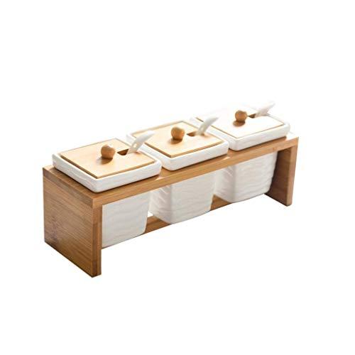 ZTTTD Ceramica condimento Jar, Porcelain Condimento Container Ceramic Spice Zucchero Vasi Ciotola condimento Box a servire in Ceramica Cucchiaio di Legno Vassoio