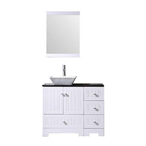 Sliverylake 36' Bathroom Vanity and Sink Combo, Ceramic Vessel Sink 36' Vanities for Bathrooms...