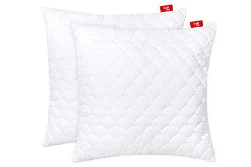 Softimi 2 Kopfkissen aus Mikrofaser, Sofakissen, Kissen für Schlafzimmer, dekoratives Kissen, mit Reißverschluss - gesteppt 80x80