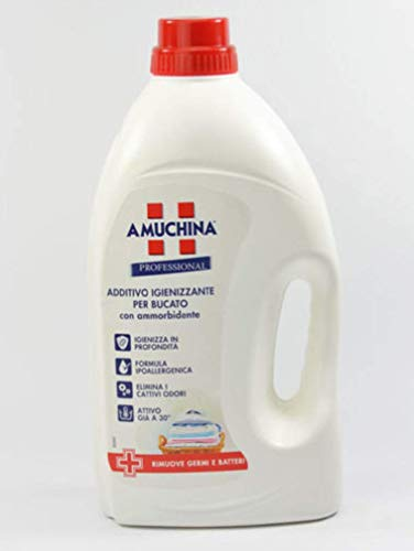 Amuchina – Aditivo higienizante con suavizante, apto para blancos y de colores, 3000 ml
