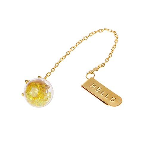 cuigu Elegante Metall Kristall Lesezeichen Gold Kette Anhänger Buch Marker creative Geschenk gelb