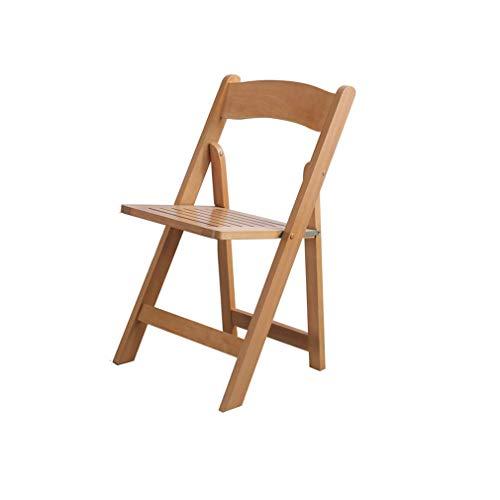 ECSD Tout en Bois Massif Chaise De Dossier Pliable Chaise De Salle À Manger Chaise De Loisir Simple Et Portable Économie De Place Chaise pour Adulte (Couleur : Couleur du Bois)