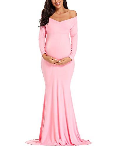 Ecavus Women's Off Shoulder Maternity Dress Slim Cross-Front V Neck Long Sleeve Gowns for Photoshoot Pink