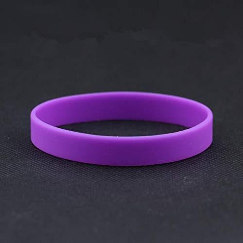 Baorio - Pulsera de silicona para adultos, unisex, no tóxico, silicona, color blanco, goma, color lila