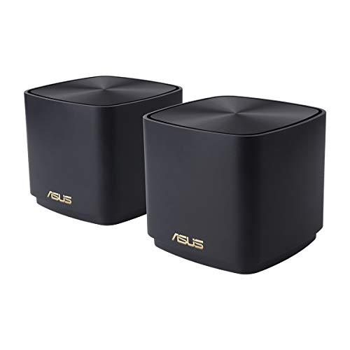 ASUS ZenWifi AX Mini (XD4) - Pack de 2 Sistemas de Red mallada Wi-Fi 6 AX1800, (Cubre hasta 446 m2, instalación Sencilla, Funciones de Seguridad y Controles parentales), Color Negro