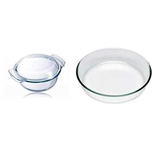 Pyrex Classic Casseruola tonda con coperchio a tegame in vetro borosilicato, 2.1 l, 25 x 20 x 11 cm & Bake&EnjoY Tortiera in vetro borosilicato Ø26 x 5,9 cm