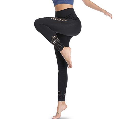 Amazon Brand – Eono Yoga Leggings Damen Sport Tights Sporthose Sportleggins Lang High Waist Leggins Seamless Kompressionsleggins, Medium-Schwarz