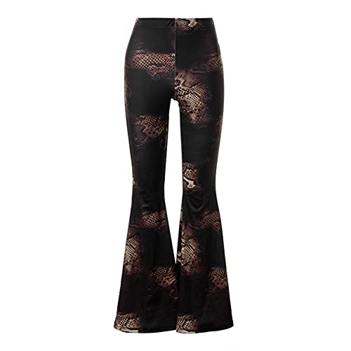 Women's Flare Bell Pants Casual High Waisted Vintage Print Wide Leg Elastic Waist Trousers Brown