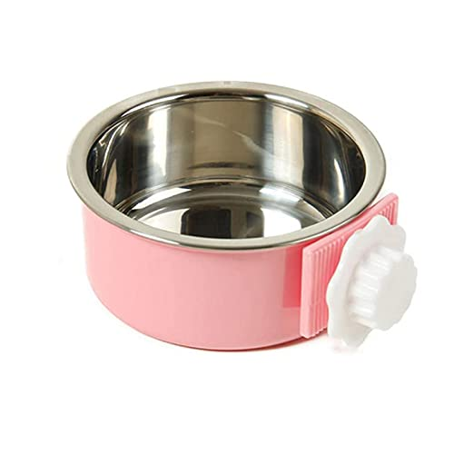 LLK Dog Bowl Removable Stainless Steel Hanging Pet Cage Bowl Food & Water Feeder Coop Cup