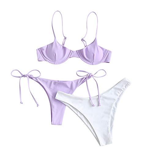 ZAFUL - Conjunto de bikini para mujer, parte superior con aros, push-up, escote balconette e inferior tipo tanga con lazos en los laterales Morado de tres piezas. L