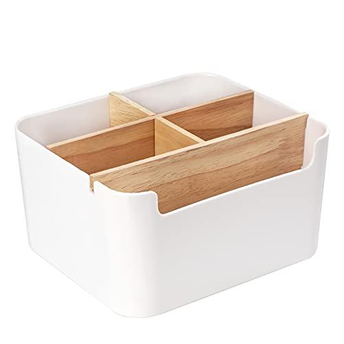 Organizador de Escritorio Caja De Almacenamiento de Madera con Desmontable Compartimentos Multifuncional Portalápices para Oficina Hogar Colegio