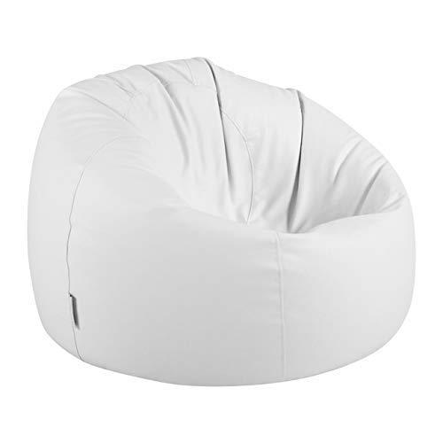 Bean Bag Bazaar Klassischer Sitzsack aus Kunstleder, Weiß, 85cm x 50cm, Sitzsäcke für Erwachsene, Groß, Sitzsäcke für das Wohnzimmer