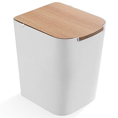 Cttiuliljt Trash Can Abfalleimer Umweltfreundlich Mülltonne aus Kunststoff Trash Can Haushalt Mülleimer Badezimmer WC Abfalleimer Müll Bucket (Color : White)