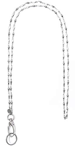 Stainless Steel Chain Women's Lanyard, Stronger, Made in USA, Badge Holder 34 inches, - Stainless Steel - Non Breakaway