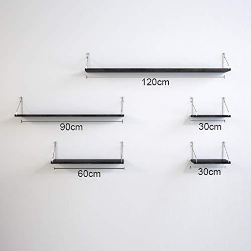 WWZWJ Zwevende plank Wandplank IJzer Art Muurdecoratie Slaapkamer Woonkamer Gratis Ponsen Muur Gemonteerd Zwart Opslagplank