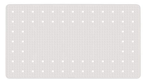 Wenko Wanneneinlage Mirasol Antirutsch-Badewannenmatte mit Saugnäpfen, Naturkautschuk, Weiß, 69 x 39 x 0.1 cm