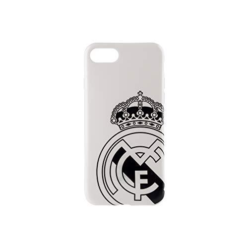 Real Madrid Funda Smartphone - Blanca con el Escudo Oficial en Negro y Compatible con Apple iPhone 7/8