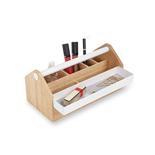 Umbra 290240-668 Toto Aufbewahrungskasten, Schmuckbox mit beweglicher Metallablage, Holz / Metall, weiß / natur