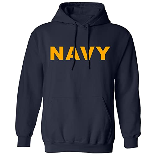 zerogravitee Navy Navy Hooded Sweatshirt with Gold Print - Large