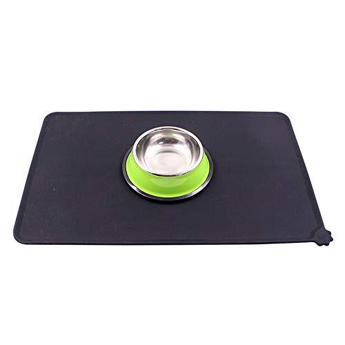 Ogquaton Haustier Silikonmatten Hund Anti-Rutsch-Matte Isoliermatten Anti-Beiß-wasserdichte Hundenapfmatten Schwarz Kreativ und nützlich